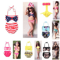 Wholesale Girls Swimwear Outfits - New Girl Floral American flag swimwear outfits cotton children Bow Bikinis Swimsuit Baby Clothing 6 colors C2137