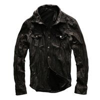 Wholesale Factory Direct Breasts - 2017 New Men Motorcycle Leather Shirt Jacket Black Plus Size XXXL Genuine Sheepskin Men thin Coat Factory Direct FREE SHIPPING