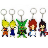 Wholesale two rings balls - 5pcs set Japanese anime Dragon Ball key ring PVC Soft Key buckle Two-sided Sun Wukong silicone Pendant