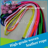 Wholesale Round Cord Lanyards - 2017 HOT SALE Fluorescence color hang rope high-grade woven leather round cord for ID card keys and smart phone