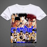 Wholesale Cosplay Slam Dunk - SLAM DUNK T-shirts Hanamichi Sakuragi Cosplay Printed T Shirts Rukawa Kaede Short Sleeve Tees Casual Summer Tops