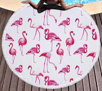 Wholesale Children Picnic Blanket - Wholesale Flamingo Microfiber Round Beach Towel Mandala Big Beach Towels Blanket Picnic Yoga Mat Boho Tablecloth Diameter 150cm