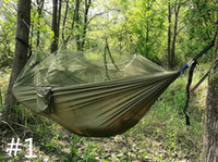 Wholesale Mosquito Nets Three Doors - Portable High Strength Parachute Fabric Doub Camping Hammock Hanging Bed With Mosquito Net Sleeping Hammock for Camping and Hiking