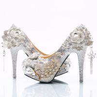 zapatos de boda de plata damas de honor al por mayor-Venta al por mayor de plata borla flor de Cenicienta Zapatos hecho a mano Prom noche tacones altos rebordear diamantes de imitación nupcial dama de honor zapatos de boda 165