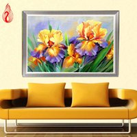 Wholesale Orchid Oil Painting Canvas - YGS-192 DIY 5D Full Diamond Embroidery Butterfly orchid Round Diamond Painting Cross Stitch Kits Diamond Mosaic Home Decoration