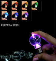 Wholesale Glow Torch - Colorful Led Glowing Mini Bulb Torch Key ring led keychain light bulb Pendant for children Halloween gift C2499