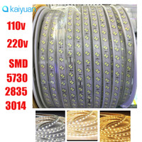 Wholesale Double Rows Waterproof Led Strip - 50m full set 110v 220v double row smd 5630 5730 3014 2835 led strips fita led strip light waterproof flexible ribbon rope white ww