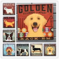 Wholesale french vintage art - 30*30cm lovely dog Golden French Dachshund Animal Wall Decor Vintage Craft Art Tin Poster Bar Club Home Decorate