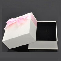 Wholesale Wholesale Gift Wrapping Bows - 100pcs Custom high-end jewelry boxes white gift wrapping paper bow pendant box new hot free shipping