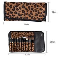 Wholesale Leopard Makeup Kit - Newest 12pcs Velvet leopard Makeup brush kits wood Foundation make-up Blush Eye shadow Modification Makeup people must High quality DHL free