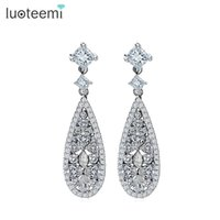Wholesale Dinner Plates Wedding - LUOTEEMI Brand Hot Selling Luxury Drop Earrings With Stones for Women AAA Cubic Zircon Wedding Bridal Dinner Brincos Jewelry