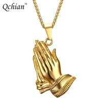 Wholesale rhinestone hand chain resale online - Stainless Steel Praying Hands Big Pendants Jewelry Gifts Hand Necklaces Men Women Hip Hop Prayer Jesus Chains Christmas Gift