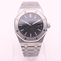 Wholesale Watch Straps Covers - High quality luxury brand Royal Oak Series 15400OR series silver strap 42MM black dial transparent back cover automatic mechanical watch