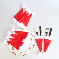 Wholesale Decorative Knives - 12*6cm Christmas Decorative tableware Knife Fork Set Christmas Hat Santa Storage Tool Festive WholesaleChristmas Decor Bag