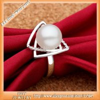 Wholesale Sinya sterling silver pearl Ring with mm natrual freshwater pearl Fine Jewelry wedding ring for women Hot sale