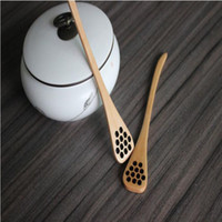 Wholesale Stir Spoon - Cute Wood Creative Carving Honey Stirring Honey Spoons Honeycomb Carved Honey Dipper Kitchen Tool Flatware Accessory