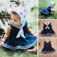 Wholesale Sailor Costume Baby - Kid Girl Navy Dress Sailor Collar Baby Kids Clothing Striped Brief Dresses Boutique Clothes Girls Beach Costumes Sundress Preppy Skirt 2-7Y