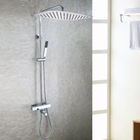 Wholesale bath faucet chrome - Chrome Rain Shower Head Brass Hand Shower Holder Thermostatic Bath Mixer Valve Exposed Bathroom Shower Faucet Set