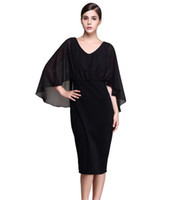 elbiseli elbiseler toptan satış-Artı Boyutu S XXXL Siyah Şifon Pelerin Batwing 3/4 Kollu Diz boyu Kılıf Elbiseler Kadın İlkbahar Yaz 2017
