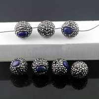 DIY 20Pcs Lapis lazuli Conectores Druzy, Pavê Rhinestone Loose Spacer Ball Connector Beads Jewelry Making