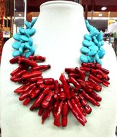 Wholesale Coral Beads Necklace Rows - Woman Jewelry 2 rows necklace light blue water drop turquoise stone baroque branch Red coral bead pendant handmade necklace 18inch