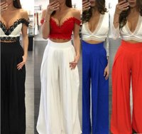 Wholesale Wide Leg Chiffon Pants - 2017 summer style Women Wide Leg Pants Chiffon Pants Fashion leisure multicolor Ankle Length trousers Loose high waist pants