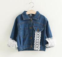 Wholesale Lace Embroidery Jackets - 2017 Girls Denim Lace Jackets Kids Girls Embroidery Letter Outwear Babies Wash Blue Fashion Jean Coats Baby clothing