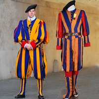 Wholesale Male Guards - adult men soldiers cosplay costume papal swiss guard uniform costume
