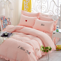 Wholesale Lace Cotton Bedding Set - Sweet Bedding Sets Tencel Warm Pure Colors Bedding Sets For Girls Simple Printing Bedding Comforter Sets With Lace Edges