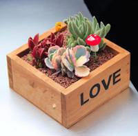 Wholesale Wholesale Planters Box - Rustic Natural Wooden LOVE Letter Succulent Plant Flower Bed Pot Box Home Garden Planter Free Shipping