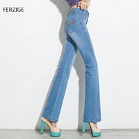 Barato Botas De Verão Para Mulheres-Atacado - FERZIGE 2017 Summer Thin Women Jeans Flare Bell Bottom Light Blue Slim Boot Cut High Stretch