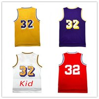 Wholesale Double Star - Mens universiy Magic Johnson #32 jerseys double stitched Johnson Youth jerseys Cheap Embroidery Logos All star jerseys free shipping