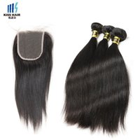 Wholesale brazilian remy hair extensions - High Quality A Remy Hair Bundles with Closure Silky Straight Raw Virgin Indian Hair Brazilian Peruvian Unprocessed Human Hair Extensions