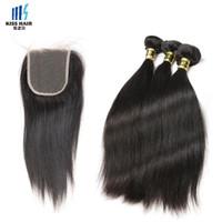 en kaliteli bakire hint saçları toptan satış-Yüksek Kaliteli 9A Remy Saç Kapatma ile 3 Demetleri Ipeksi Düz Ham Bakire Hint Saç Brezilyalı Perulu İşlenmemiş İnsan Saç Uzantıları