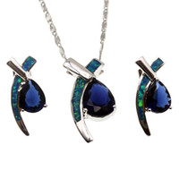 Wholesale Opal Drop Earrings Silver - 925 Sterling Silver Jewelry Sets Natural Opal Drop Blue Sapphire Pendant Necklace Earring Christmas Gifts OPJS1