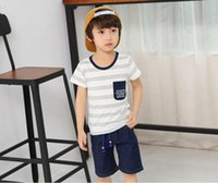 Wholesale Korean Model Boy Fashion - 2017 summer new Korean children's clothing boy short-sleeved fashion striped letters printed children t-shirt tide explosion models