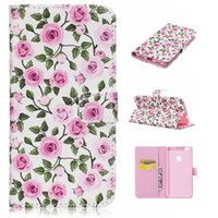 Wholesale Framed Chinese Flowers Art - Colour Printing Art Flowers Wallet Leather Case with TPU Soft Frame for Huawei P8 lite 2017 Mate9 Nova P9 P9 lite Y5 II Y6 II