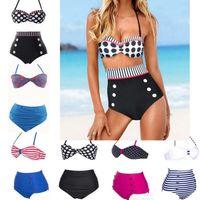 Wholesale Ladies Swimwear Bottoms - Hot Women's Fringe Bikini wave swimsuit Girl Lady Swimming Swimsuit bathing Suit Top & Bottom 2 pieces Swimwear Tall waist belly neck bikini