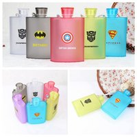 Wholesale Cartoon Plastic Hip Flasks ML A5 Flat Paper Cup Spiderman Superman Captain America Outdoor Sports Camping Bottle Mugs OOA2269
