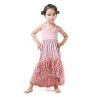 Wholesale Tulle Tutu Boutique - Everweekend 2017 New Girls Maxi Dress Kids Dust Pink Cotton Ruffles Tulle Evening Dress Baby Boutique Clothing Children Flower Girls Dresses