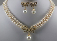 Wholesale Mixed 18k Gp Necklace - 18k Yellow Gold GP 6-7mm White Pearl & Shell Pearl Pendant Necklace Earring Set