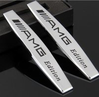 Wholesale Amg Siding - High Quality New Car styling logo stickers Metal plating movement leaves labeling side label modification AMG    AMG for Mercedes