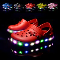 led slippers prices - 17 NEW Arrival Youth Boys Girls Fashion Summer Sandals Beach Croc Fit shoe Flip Flops Slippers EVA Shoes LED Light shoes