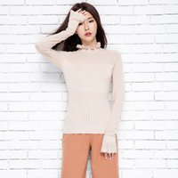 Wholesale womens ruffle sweater - Wholesale- adohon 2016 womens winter Cashmere Ruffles sweaters and auntmun women Butterfiy Sleeve Pullovers High Quality Warm Female Thick