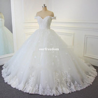 online Shopping Ball Gown Wedding Dress - 2017 Lace Ball Gown Vintage Wedding Dresses Arabic Off-the-shoulder Beads Bridal Gowns Hand Made Flowers Lace Up Backless Wedding Gowns
