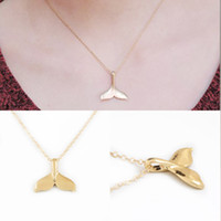 Wholesale Whale Tail Pendant - New Fashion Women Creative Charm Vintage Whale Tail Pendant Necklace Lovely Chain Jewelry Party Gift Free Shipping