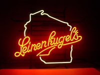 """Wholesale Wisconsin Sign - 17"""" x 14""""New Leinenkugels WISCONSIN Beer Bar Store Real Glass Neon Light Sign FREE SHIP"""