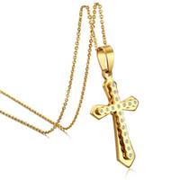 Wholesale Ladies Stainless Steel Cross Pendant - 2017 Gold Plated Cross Cubic Zircon Diamond Necklace For Women Ladies Classic Necklaces Pendants Jewelry PN-284