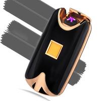 Wholesale Cigarette Lighter Flameless - Wholesale- Free Shipping New Fashion USB Metal Flameless Fingerprint Rechargeable Windproof Pulse Electric Dual Arc Cigarette Lighter