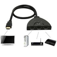 hdmi hub'ları toptan satış-HDMI Switcher Pigtail HDMI Anahtarı ile HDCP 1080 P Hub V1.4B Mac Pro / PS4 / Projektörler / Xbox 360 / Xbox One / DVB / apple cihazlar